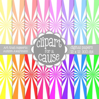Digital Papers: Colors & White Starburst Scrapbook Paper -