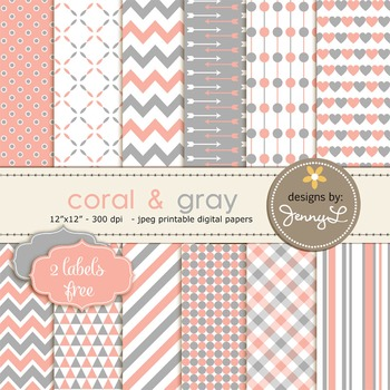 Digital Papers : Coral and Gray colors