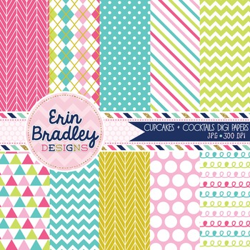 Digital Papers Cupcakes & Cocktails Patterned Background G