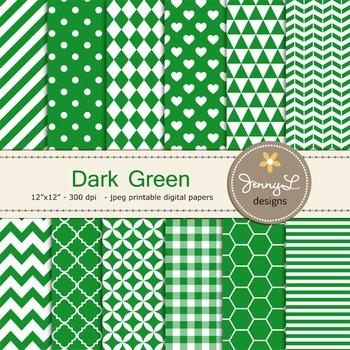 Digital Papers : Dark Green
