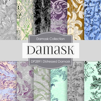 Digital Papers - Distressed Damask (DP2891)