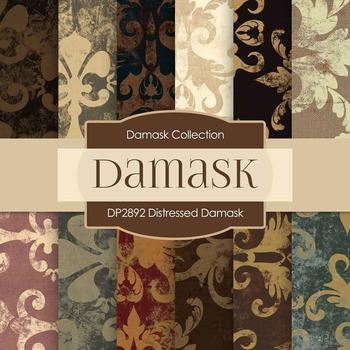 Digital Papers - Distressed Damask (DP2892)