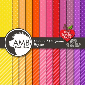 Digital Papers, Dots and Stripes pattern digital paper and