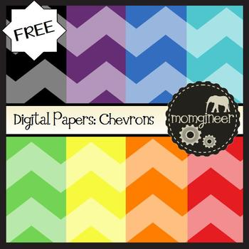 Digital Papers FREEBIE: Chevrons in Bold Colors (Commercia
