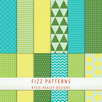 Digital Papers - Fizz Patterns Blue Green Yelow
