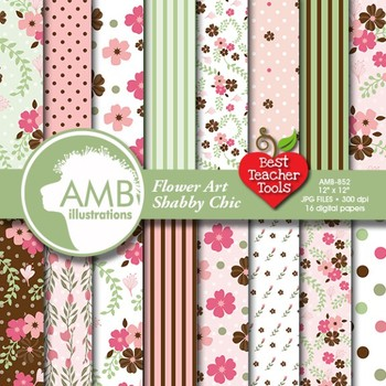 Digital Papers - Floral Art digital paper and backgrounds,