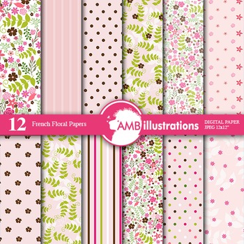 Digital Papers - French Floral digital paper and backgroun