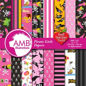 Digital Papers - Girl Pirate papers and backgrounds, AMB-1108