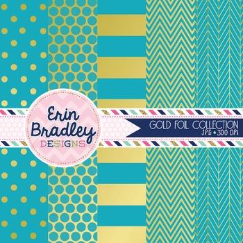 Digital Papers - Gold Foil & Blue