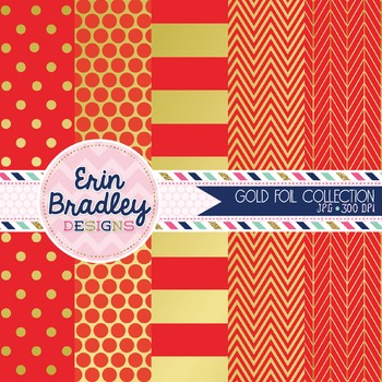 Digital Papers - Gold Foil & Red