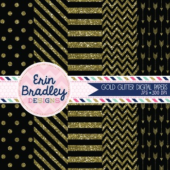 Digital Papers - Gold Glitter and Black