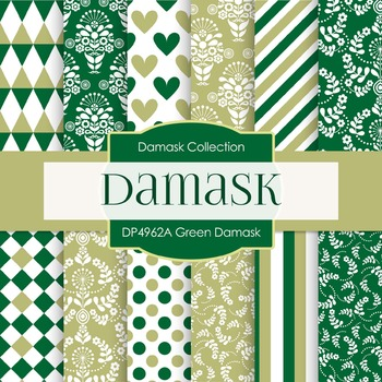 Digital Papers - Green Damask (DP4962A)