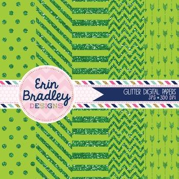 Digital Papers - Green Glitter