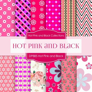 Digital Papers - Hot Pink and Black (DP885)