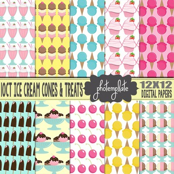 Digital Papers: Ice Cream Cones and Desserts Scrapbooking Paper