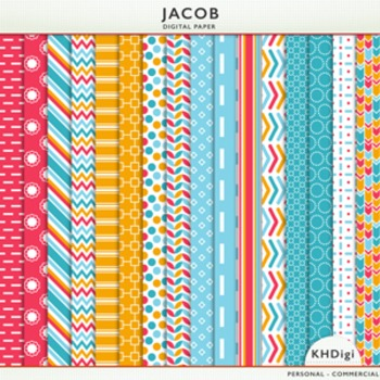 "Digital Papers -  ""Jacob"" Blue Red Orange"