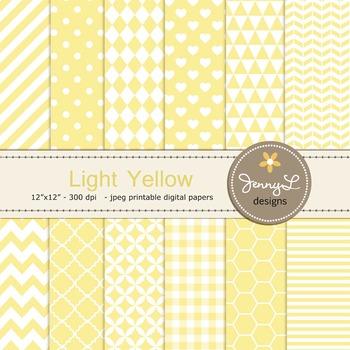 Digital Papers : Light / Pastel Yellow
