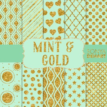 Digital Papers - Mint Green and Gold Foil Glitter Glam Papers