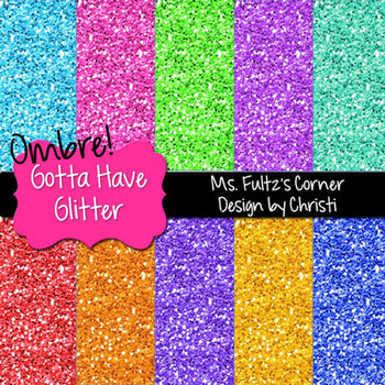 Digital Papers: Ombre Glitter Brights