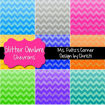 Digital Papers: Ombre Glitter Chevron