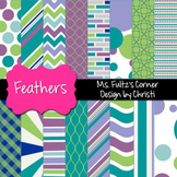 Digital Papers: Peacock Feathers