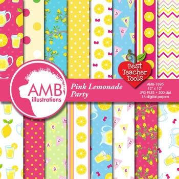 Digital Papers, Pink Lemonade Stand Digital Papers, Lemona