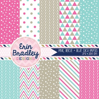 Digital Papers - Pink and Blue
