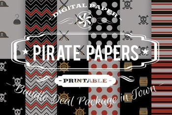 Digital Papers - Pirate Patterns Bundle Deal