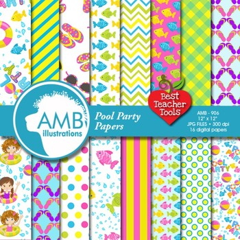 Digital Papers, Pool party digital paper and backgrounds,
