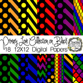 Digital Papers - Primary Colors on Black Collection {Perso