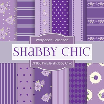 Digital Papers - Purple Shabby Chic (DP865)