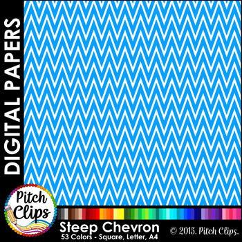 Digital Papers: RAINBOW BRIGHTS - Steep Chevron - 38 Color
