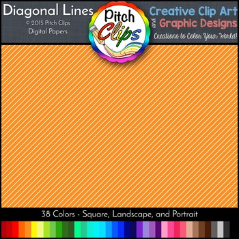 Digital Papers: RAINBOW BRIGHTS - Diagonal Lines -  38 Col