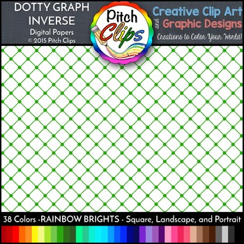 Digital Papers: RAINBOW BRIGHTS - Dotty Graph INVERSE - 38 Colors