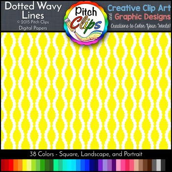 Digital Papers: RAINBOW BRIGHTS - Dotted Wavy Line - 38 Co