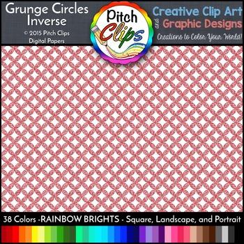Digital Papers: RAINBOW BRIGHTS - Grunge Circles INVERSE -