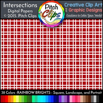 Digital Papers: RAINBOW BRIGHTS - Intersections - 38 Colors