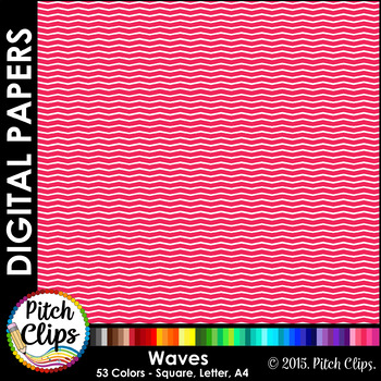 "Digital Papers: RAINBOW BRIGHTS - Waves - 38 Colors, 12"" & letter"