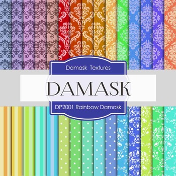 Digital Papers -  Rainbow Damask (DP2001)