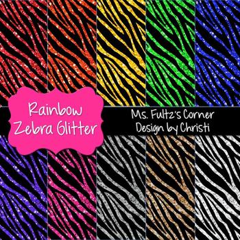 Digital Papers: Rainbow Zebra Glitter
