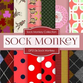 Digital Papers - Red Sock Monkey (DP2136)