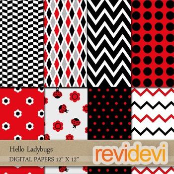 Digital Papers: Red black ladybugs