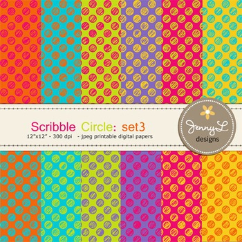 Digital Papers: Scribble CIRCLE in Bright Colors -SET3