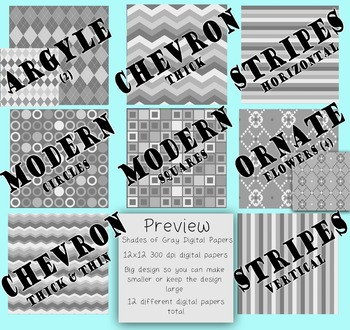 Digital Papers-Shades of Gray {Light gray to dark gray, 30