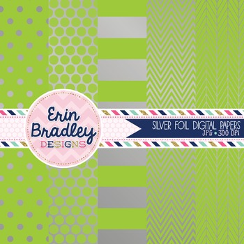 Digital Papers - Silver Foil and Apple Green
