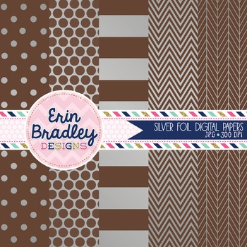 Digital Papers - Silver Foil and Brown