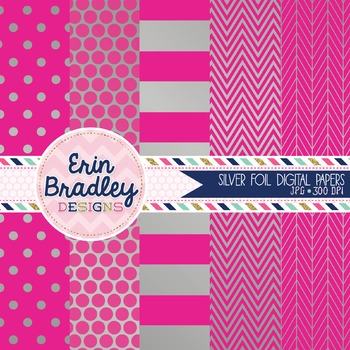 Digital Papers - Silver Foil and Hot Pink