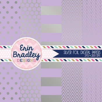 Digital Papers - Silver Foil and Lavender