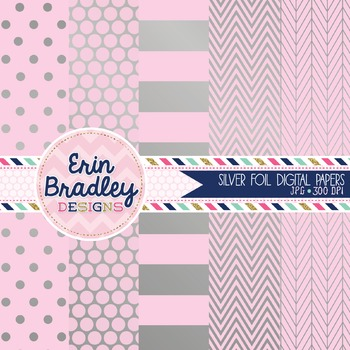 Digital Papers - Silver Foil and Light Pink