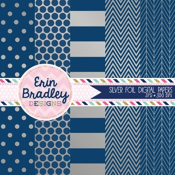 Digital Papers - Silver Foil and Navy